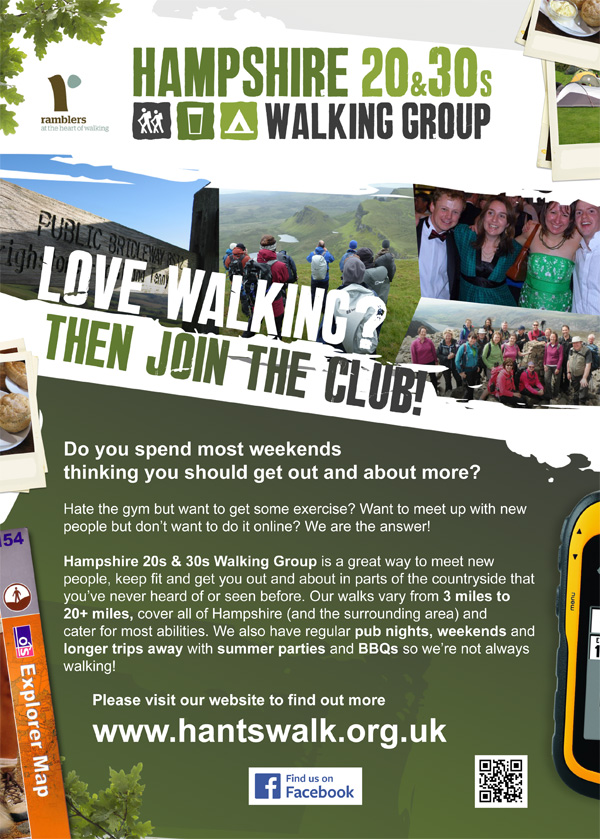 Hampshire 20s and 30s Walking Group A4 poster
